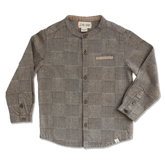 Me & Henry Woven Thick Grey Textured Round Neck Shirt (Size 3-4 Years)