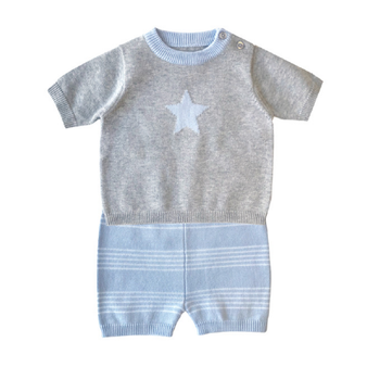 Beanstork Knit Grey & Blue Star Set (Size 3 & 9 months)