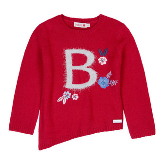 Boboli Roller Girl Soft Knit Red Jumper with Flowers Applique (Sample Size 4 Years)