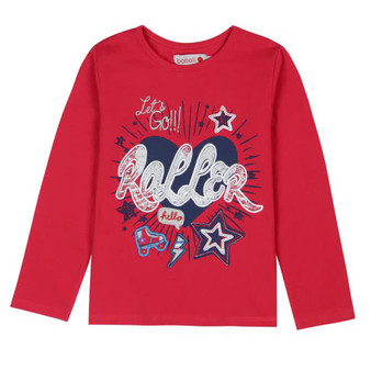 Boboli Roller Girl Red with Glitter & Patch Roller Tee (Sample Size 4 Years)