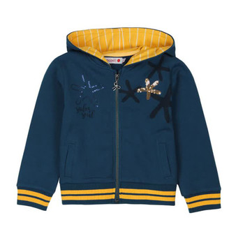 Boboli Sailor Soul Navy Fleece Inner Hooded Jacket with Gold Sequined Starfish (Sample Size 4 Years)
