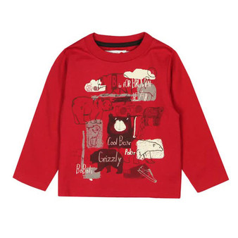 Boboli Wilderness Red Brown Bear Print Tee (Sample Size 12 Months)