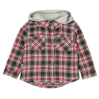 Boboli Wilderness Red Grey & White Check Shirt with Removable Hood (Sample Size 12 Months)