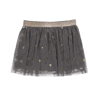 Boboli Dark Grey with Gold Crowns Soft Tulle Skirt (Size 16 Years)