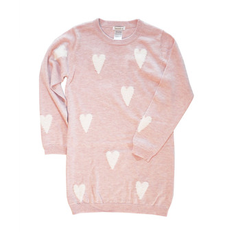Beanstork Pink with Cream Fluffy Heart Knitted Dress (Size 6 years only)