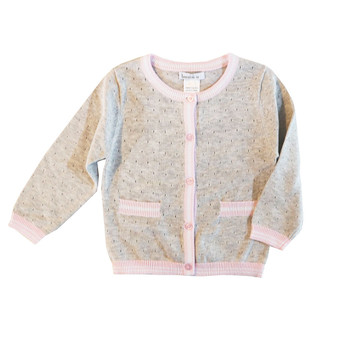 Beanstork Light Grey with Pink & White Hems Knit Cardigan (Size 6 Months-6 Years)