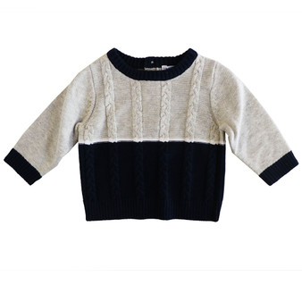 Beanstork Knit Grey & Navy Cotton Jumper (Sizes 3 - 24 Months)