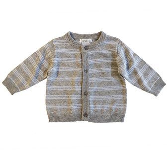 Beanstork Grey & Light Blue Thin Stripes Cotton Knit Cardigan (Sizes 3-12 Months)