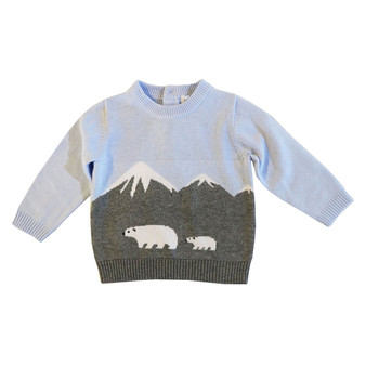 Beanstork Grey & Light Blue Alps & Polar Bear Design Soft Knit Cotton Jumper (Sizes 3-12 Months)