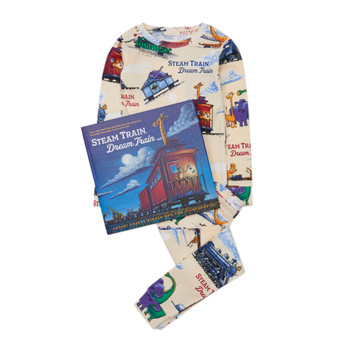 Hatley 'Books to Bed' Steam Train Dream Train Organic Cotton Pyjama & Book Gift Set (Sizes 3 Years)