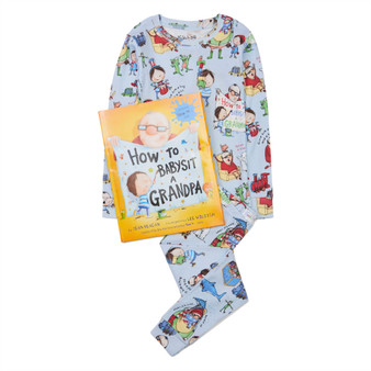 Hatley 'Books to Bed' How to Babysit a Grandpa Organic Cotton Pyjama & Book Gift Set (Sizes 3 Years)