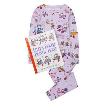 Hatley 'Books to Bed' Lilly's Purple Plastic Purse Organic Cotton Pyjama & Book Gift Set (Sizes 3-6 Years)