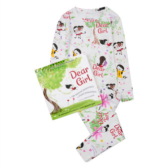 Hatley 'Books to Bed' Dear Girl Organic Cotton Pyjama & Book Gift Set (Sizes 3-7 Years)