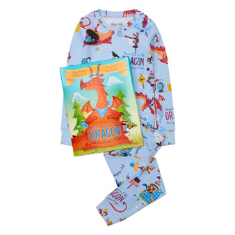 Hatley 'Books to Bed' There Was an Old Dragon who Swallowed a Knight Organic Cotton Pyjama & Book Gift Set (Sizes 3-5 Years)
