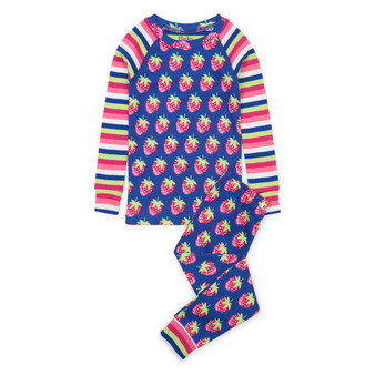 Hatley Strawberries Organic Cotton Raglan Pyjama Set (Size 2, 4, 7 & 12 Years)