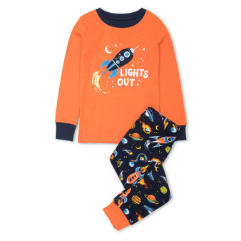 Hatley Retro Rockets Organic Cotton Appliqué Pyjama Set (Sizes 2-5 Years)