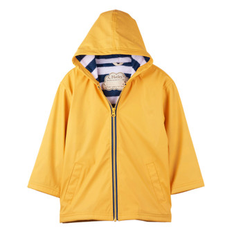 Hatley Yellow With Navy Stripe Lining Splash Jacket (Size 12 Years)