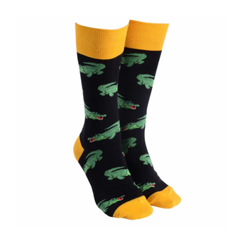 Sock Society Aussie Crocs Socks - Black with Yellow (One Size Fits Most Adults)