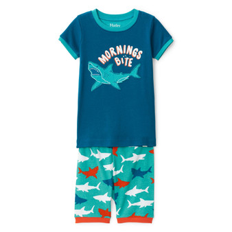 Hatley Great White Sharks Organic Cotton Short Appliqué Pyjama Set (Sizes 2-6 Years)