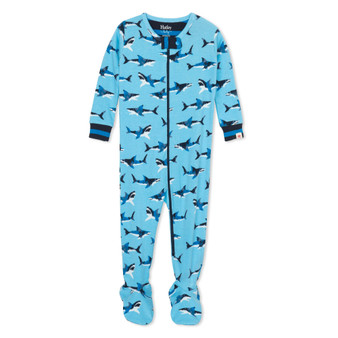 Hatley Great White Sharks Organic Cotton Footed Coverall (Sizes 0-24 Months)