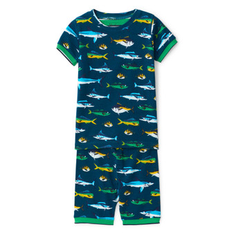 Hatley Game Fish Organic Cotton Short Pyjama Set (Sizes 2-7 Years)