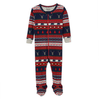 Hatley Fair Isle Stags Organic Cotton Footed Coverall (Size 9-12 Months Sample)