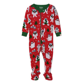 Hatley Yuletide Yetis Organic Cotton Footed Coverall (Size 12-18 Months Sample)