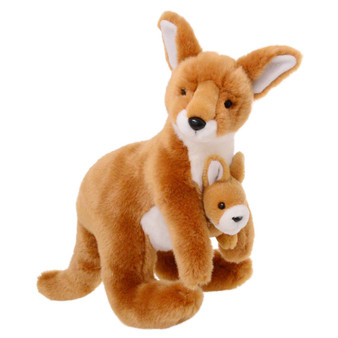 Animalia Plush Kangaroo with Joey (Height 32cm)