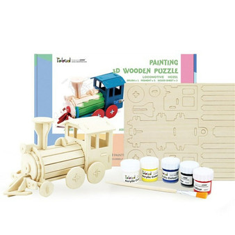 Robotime Rowood Series Painting 3D Wooden Puzzle Locomotive (Recommended 5 +)