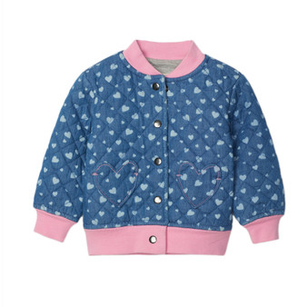 Hatley Heart Cluster Baby Quilted Denim Bomber (Size 9-12m Sample)