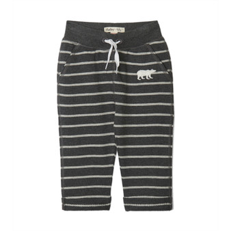 Hatley Grey Stripe Bear French Terry Joggers (Size 12-18m Sample)