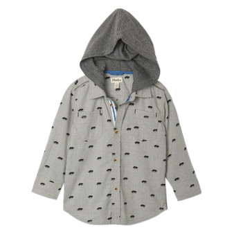 Hatley Wolf Print Grey Hooded Patch Sleeve Buttoned Shirt (Size 4 Sample)