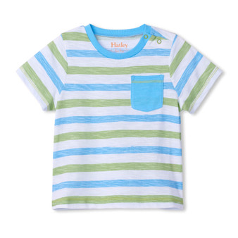 Hatley Sea Stripe Baby Front Pocket Graphic Tee (Size 9-12m Sample)