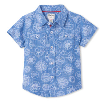 Hatley Nautical Compass Baby Button Down Shirt (Size 9-12m Sample)