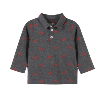 Hatley Grey with Moose Print Polo Tee (Size 9-12m Sample)