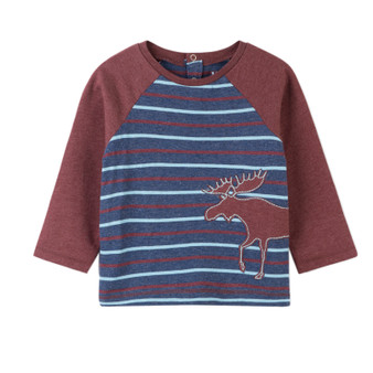 Hatley Striped Moose Jersey Applique Tee (Size 9-12m Sample)