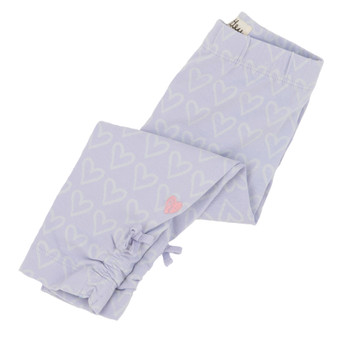 Hatley Lilac Hearts Print Ruched Leggings (Size 2 Sample)