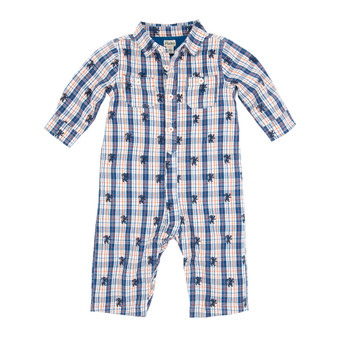 Hatley Blue, White & Orange Check Royal Lion Lined Romper (Size 9-12m Sample)