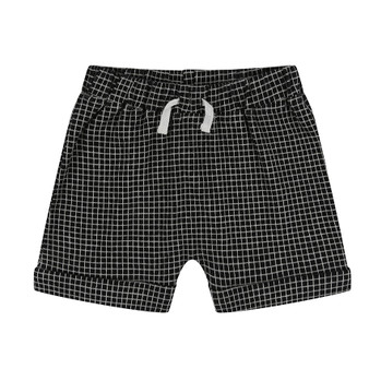 Turtledove Organic Cotton Fine Check Black & White Shorts (Size 6-12m)