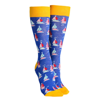 Sock Society Sailboat Socks Royal Blue & Yellow (One Size Fits Most Adults)