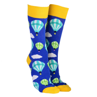 Sock Society Hot Air Balloons Socks Royal Blue & Yellow (One Size Fits Most Adults)