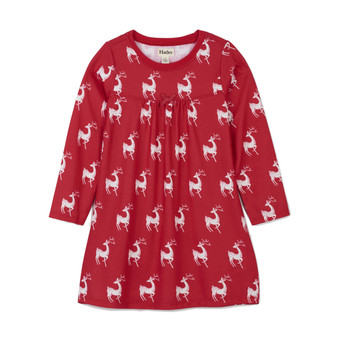 Hatley Red & White Holiday Deers Nightie (Size 4 Sample)