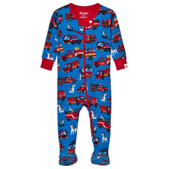 Hatley Blue with Firetrucks Print Footed Coverall (Size 9-12m Sample)