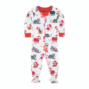 Hatley Christmas Cats Pink Hems Footed Coverall (Size 6-12m Sample)