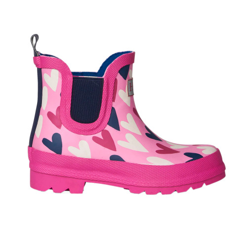 Hatley Lovey Hearts Ankle Rain Booties (Sizes 10-3 US Size Shoes)