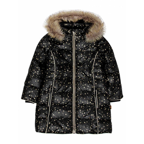Boboli Technical Fabric Black with Gold Stars Hooded Quilted Jacket (Size 5-7 Years)