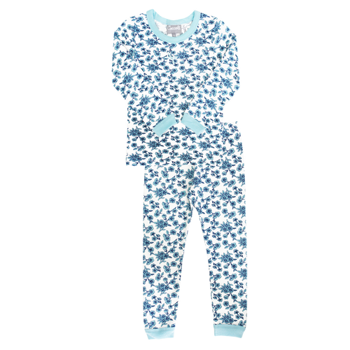 Coccoli Blue Flowers Winter Pyjamas (Size 2 and 3 only)