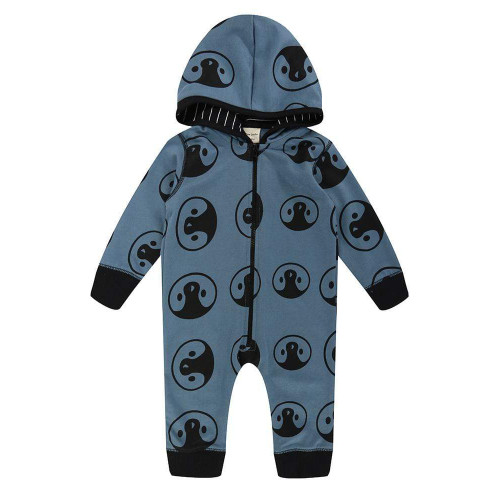 Turtledove Organic Cotton Teal Penguin Hooded Sweater Rompersuit (Sample Size 0-6 Months)