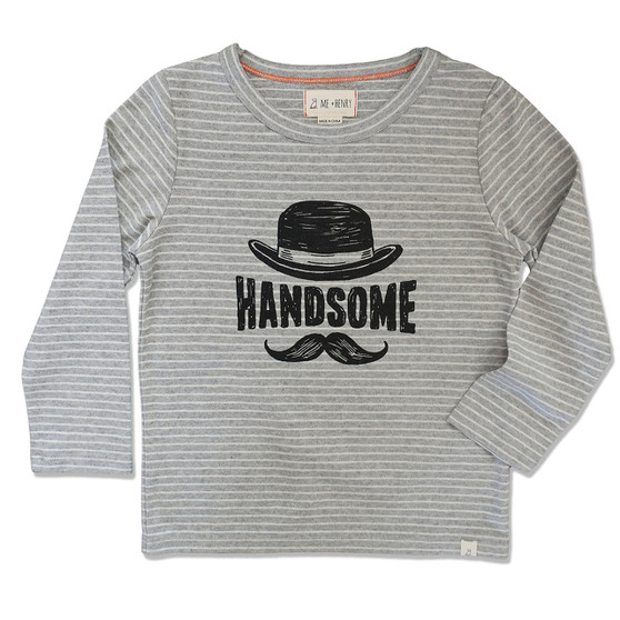 Me & Henry Grey Stripe Handsome Tee (Size 3-4 Years)