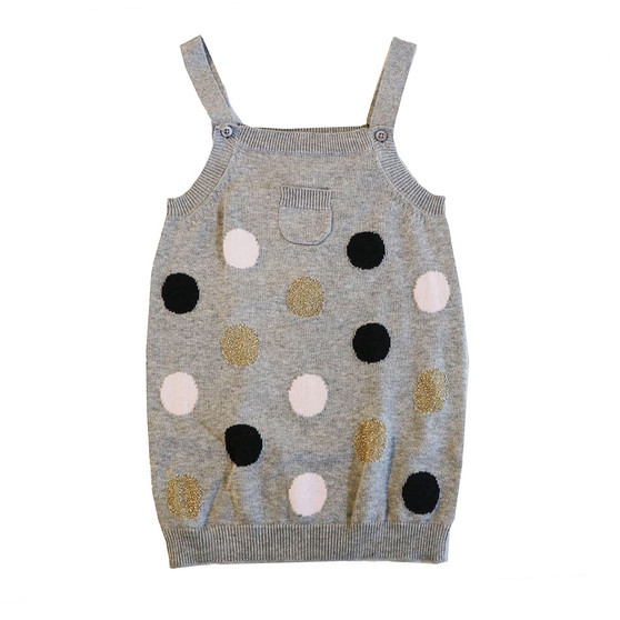 Beanstork Grey with Navy, Pink & Gold Spot Knit Pini Dress (Size 3 Years only)